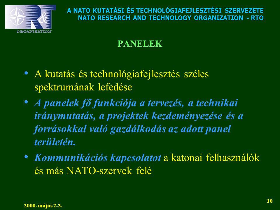 A NATO KUTATÁSI ÉS TECHNOLÓGIAFEJLESZTÉSI SZERVEZETE NATO RESEARCH AND TECHNOLOGY ORGANIZATION - RTO 2000. május 2-3. 10 PANELEK • A kutatás és techno