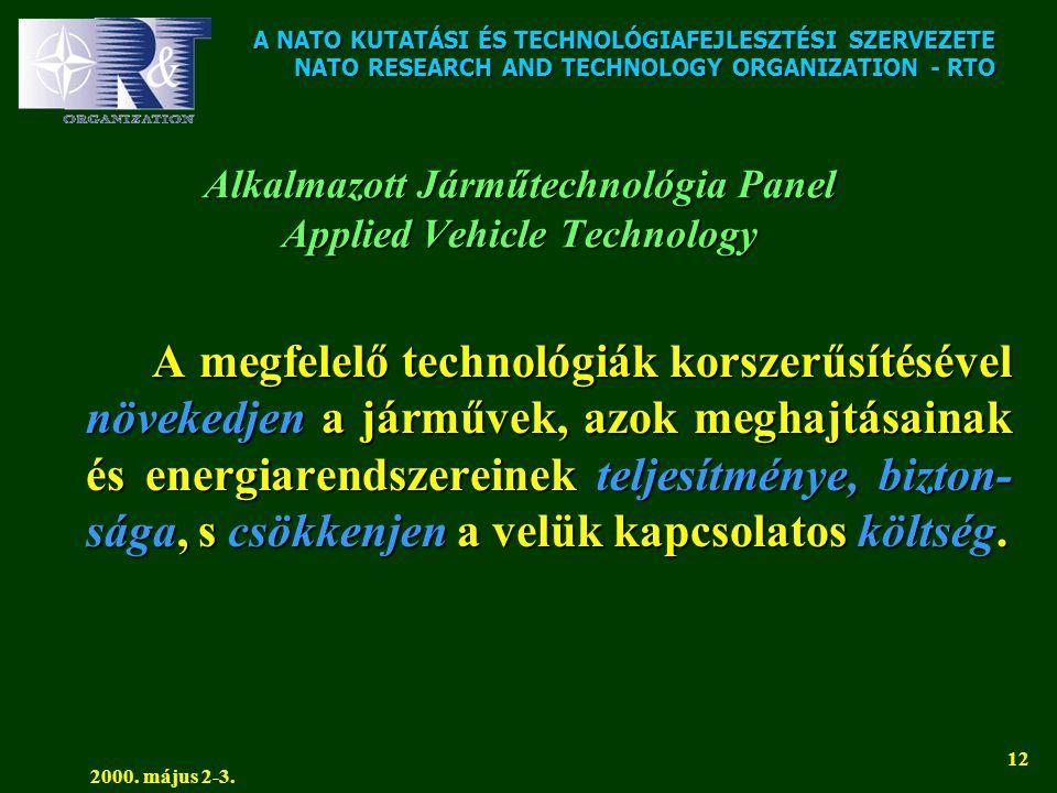 A NATO KUTATÁSI ÉS TECHNOLÓGIAFEJLESZTÉSI SZERVEZETE NATO RESEARCH AND TECHNOLOGY ORGANIZATION - RTO 2000. május 2-3. 12 Alkalmazott Járműtechnológia
