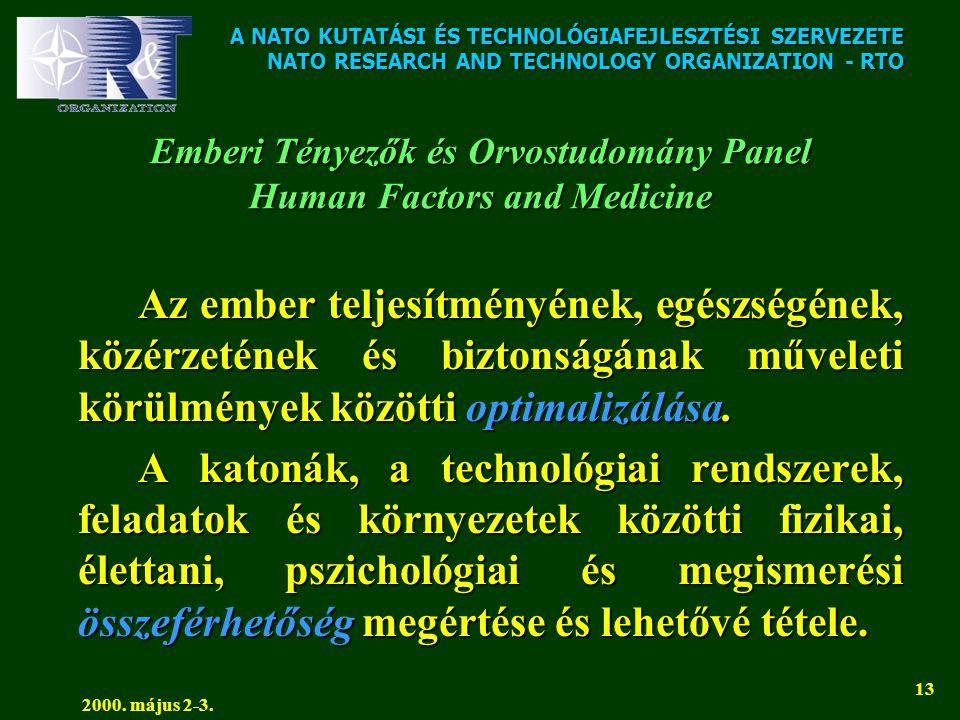 A NATO KUTATÁSI ÉS TECHNOLÓGIAFEJLESZTÉSI SZERVEZETE NATO RESEARCH AND TECHNOLOGY ORGANIZATION - RTO 2000. május 2-3. 13 Emberi Tényezők és Orvostudom