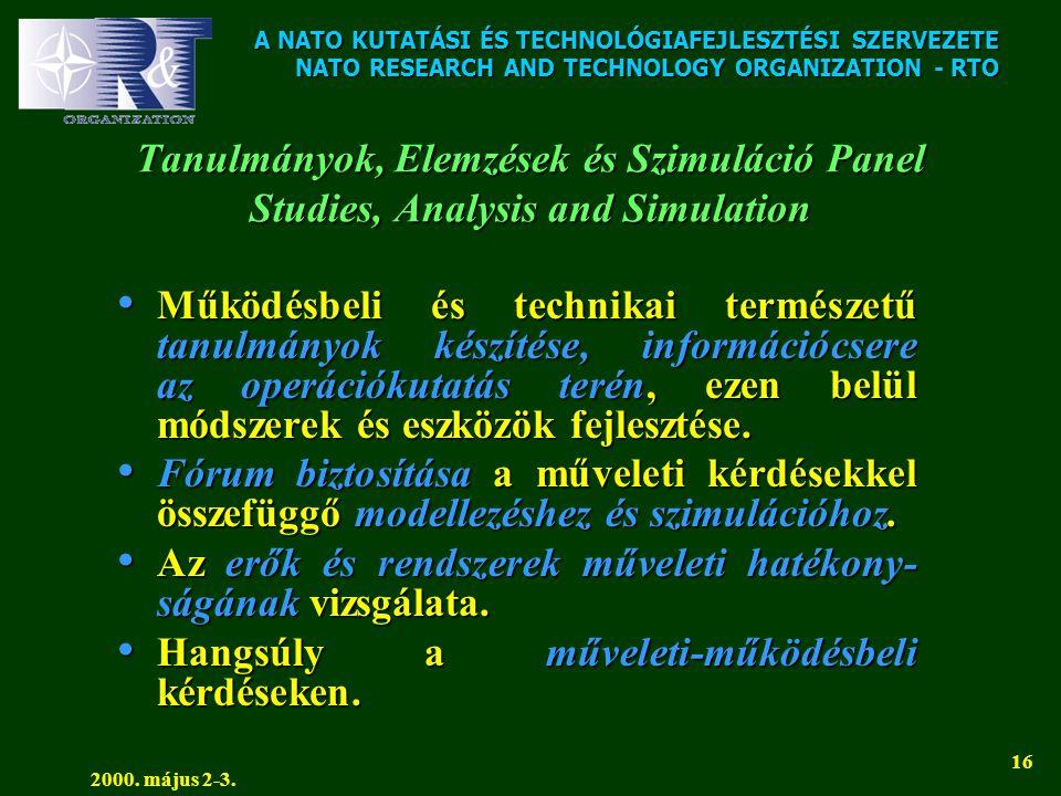 A NATO KUTATÁSI ÉS TECHNOLÓGIAFEJLESZTÉSI SZERVEZETE NATO RESEARCH AND TECHNOLOGY ORGANIZATION - RTO 2000. május 2-3. 16 Tanulmányok, Elemzések és Szi