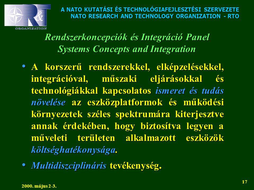 A NATO KUTATÁSI ÉS TECHNOLÓGIAFEJLESZTÉSI SZERVEZETE NATO RESEARCH AND TECHNOLOGY ORGANIZATION - RTO 2000. május 2-3. 17 Rendszerkoncepciók és Integrá