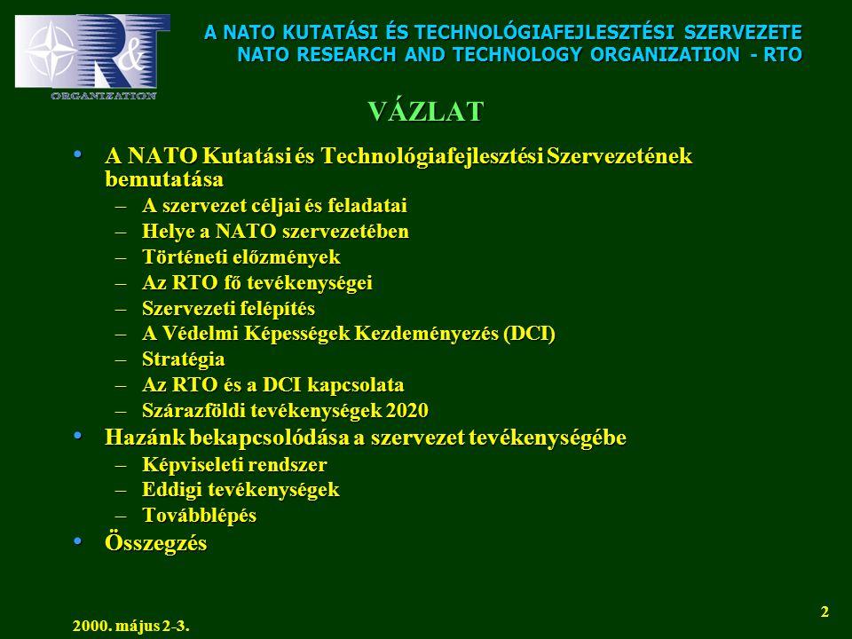 A NATO KUTATÁSI ÉS TECHNOLÓGIAFEJLESZTÉSI SZERVEZETE NATO RESEARCH AND TECHNOLOGY ORGANIZATION - RTO 2000. május 2-3. 2 VÁZLAT • A NATO Kutatási és Te