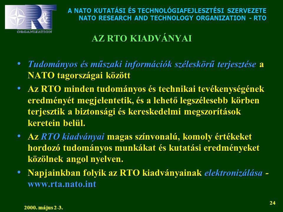A NATO KUTATÁSI ÉS TECHNOLÓGIAFEJLESZTÉSI SZERVEZETE NATO RESEARCH AND TECHNOLOGY ORGANIZATION - RTO 2000. május 2-3. 24 AZ RTO KIADVÁNYAI • Tudományo