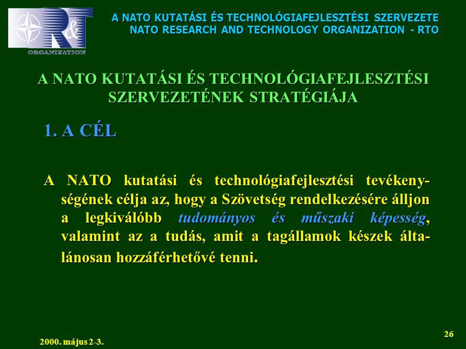 A NATO KUTATÁSI ÉS TECHNOLÓGIAFEJLESZTÉSI SZERVEZETE NATO RESEARCH AND TECHNOLOGY ORGANIZATION - RTO 2000. május 2-3. 26 A NATO KUTATÁSI ÉS TECHNOLÓGI