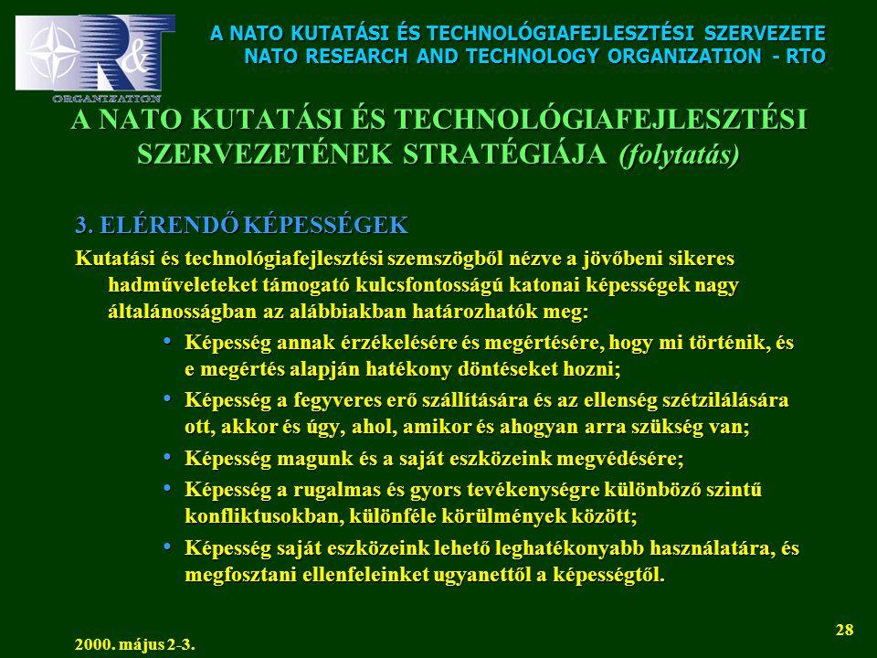 A NATO KUTATÁSI ÉS TECHNOLÓGIAFEJLESZTÉSI SZERVEZETE NATO RESEARCH AND TECHNOLOGY ORGANIZATION - RTO 2000. május 2-3. 28 A NATO KUTATÁSI ÉS TECHNOLÓGI