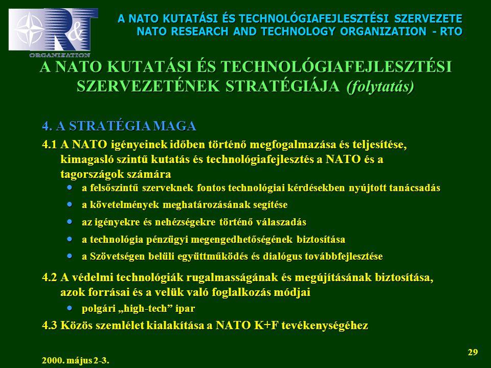 A NATO KUTATÁSI ÉS TECHNOLÓGIAFEJLESZTÉSI SZERVEZETE NATO RESEARCH AND TECHNOLOGY ORGANIZATION - RTO 2000. május 2-3. 29 A NATO KUTATÁSI ÉS TECHNOLÓGI