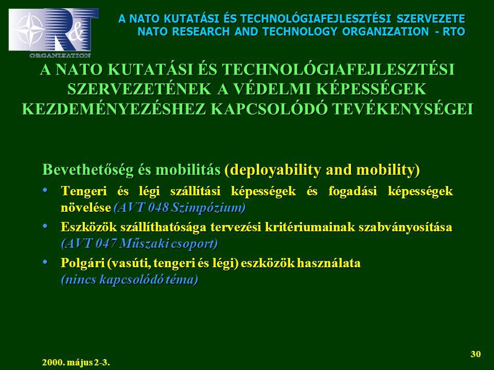 A NATO KUTATÁSI ÉS TECHNOLÓGIAFEJLESZTÉSI SZERVEZETE NATO RESEARCH AND TECHNOLOGY ORGANIZATION - RTO 2000. május 2-3. 30 A NATO KUTATÁSI ÉS TECHNOLÓGI