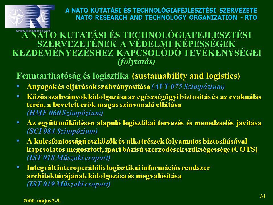 A NATO KUTATÁSI ÉS TECHNOLÓGIAFEJLESZTÉSI SZERVEZETE NATO RESEARCH AND TECHNOLOGY ORGANIZATION - RTO 2000. május 2-3. 31 A NATO KUTATÁSI ÉS TECHNOLÓGI