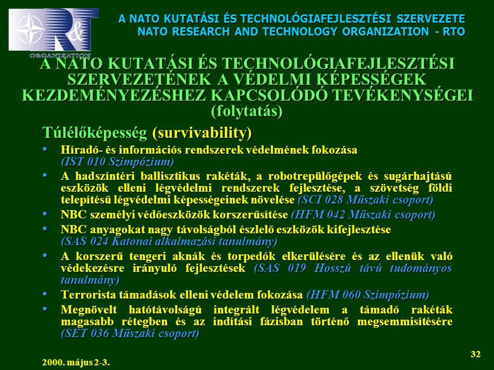 A NATO KUTATÁSI ÉS TECHNOLÓGIAFEJLESZTÉSI SZERVEZETE NATO RESEARCH AND TECHNOLOGY ORGANIZATION - RTO 2000. május 2-3. 32 A NATO KUTATÁSI ÉS TECHNOLÓGI