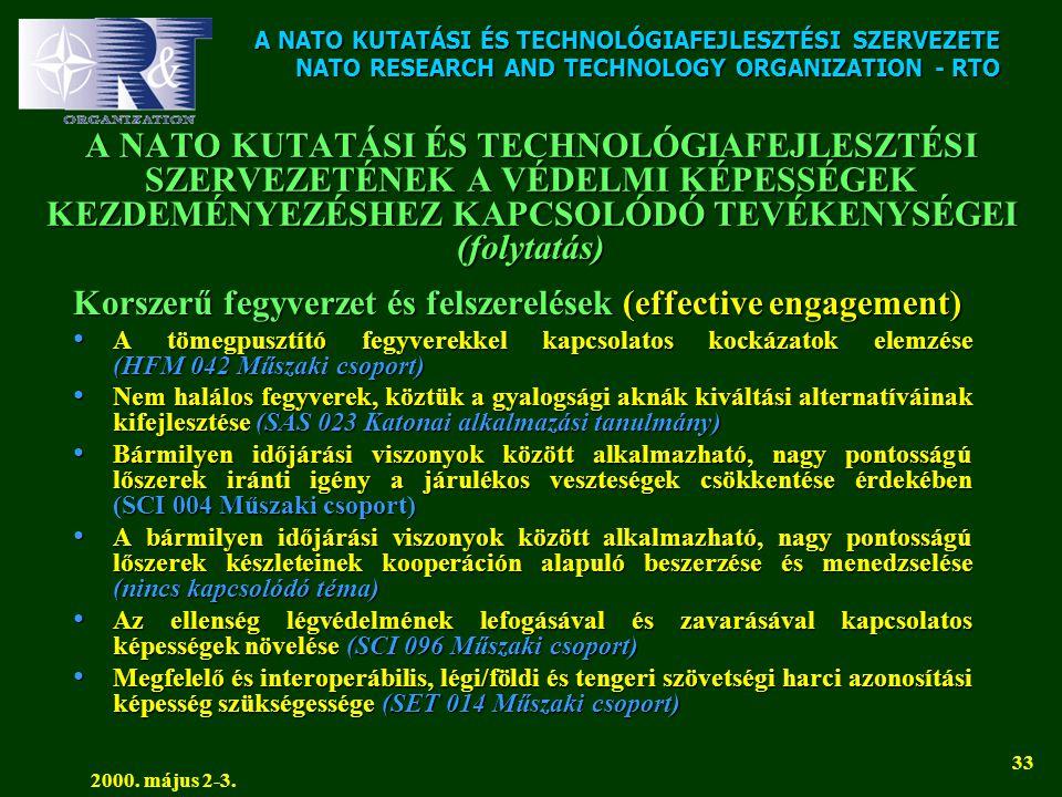 A NATO KUTATÁSI ÉS TECHNOLÓGIAFEJLESZTÉSI SZERVEZETE NATO RESEARCH AND TECHNOLOGY ORGANIZATION - RTO 2000. május 2-3. 33 A NATO KUTATÁSI ÉS TECHNOLÓGI