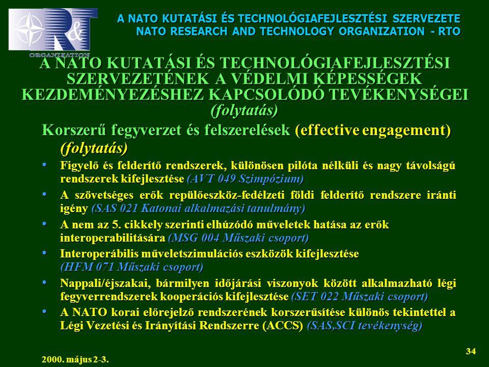 A NATO KUTATÁSI ÉS TECHNOLÓGIAFEJLESZTÉSI SZERVEZETE NATO RESEARCH AND TECHNOLOGY ORGANIZATION - RTO 2000. május 2-3. 34 A NATO KUTATÁSI ÉS TECHNOLÓGI