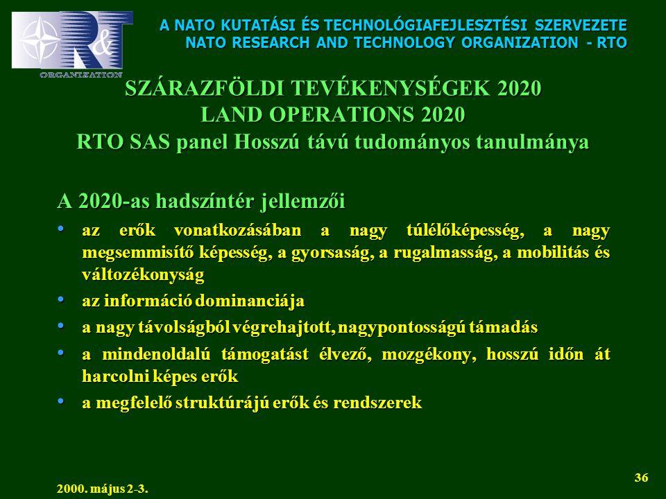 A NATO KUTATÁSI ÉS TECHNOLÓGIAFEJLESZTÉSI SZERVEZETE NATO RESEARCH AND TECHNOLOGY ORGANIZATION - RTO 2000. május 2-3. 36 SZÁRAZFÖLDI TEVÉKENYSÉGEK 202