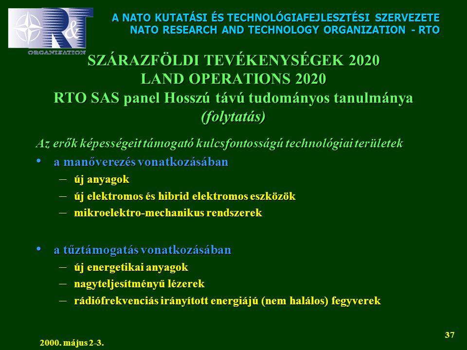 A NATO KUTATÁSI ÉS TECHNOLÓGIAFEJLESZTÉSI SZERVEZETE NATO RESEARCH AND TECHNOLOGY ORGANIZATION - RTO 2000. május 2-3. 37 SZÁRAZFÖLDI TEVÉKENYSÉGEK 202