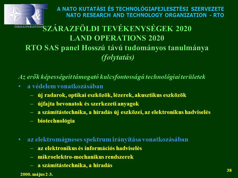 A NATO KUTATÁSI ÉS TECHNOLÓGIAFEJLESZTÉSI SZERVEZETE NATO RESEARCH AND TECHNOLOGY ORGANIZATION - RTO 2000. május 2-3. 38 SZÁRAZFÖLDI TEVÉKENYSÉGEK 202