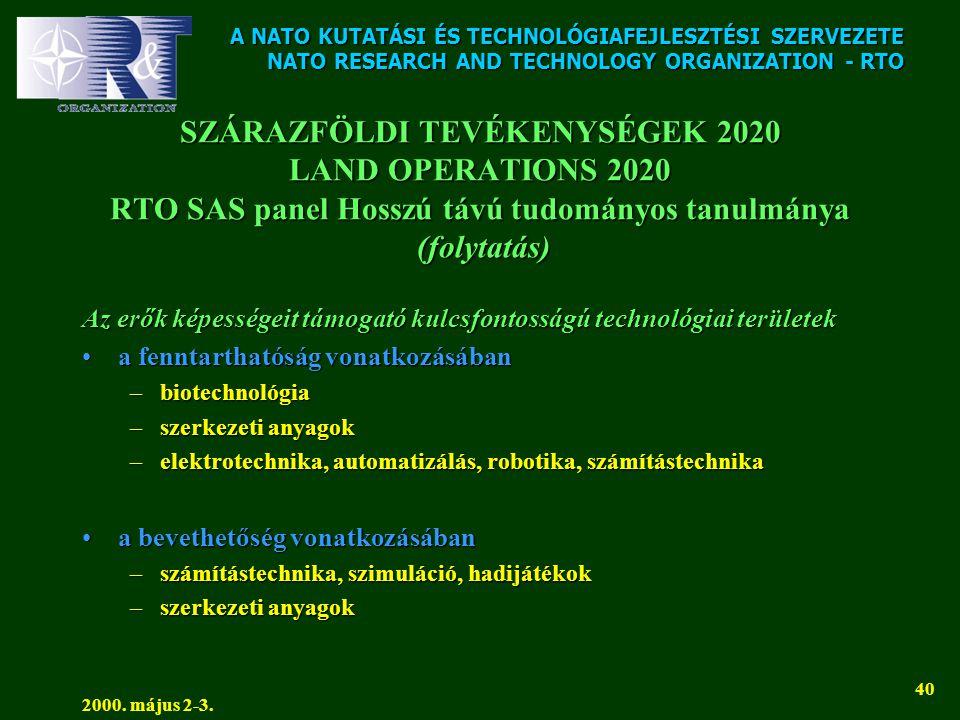 A NATO KUTATÁSI ÉS TECHNOLÓGIAFEJLESZTÉSI SZERVEZETE NATO RESEARCH AND TECHNOLOGY ORGANIZATION - RTO 2000. május 2-3. 40 SZÁRAZFÖLDI TEVÉKENYSÉGEK 202