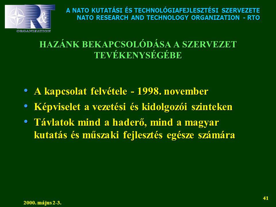 A NATO KUTATÁSI ÉS TECHNOLÓGIAFEJLESZTÉSI SZERVEZETE NATO RESEARCH AND TECHNOLOGY ORGANIZATION - RTO 2000. május 2-3. 41 HAZÁNK BEKAPCSOLÓDÁSA A SZERV
