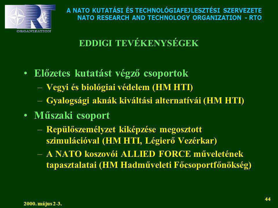 A NATO KUTATÁSI ÉS TECHNOLÓGIAFEJLESZTÉSI SZERVEZETE NATO RESEARCH AND TECHNOLOGY ORGANIZATION - RTO 2000. május 2-3. 44 EDDIGI TEVÉKENYSÉGEK •Előzete