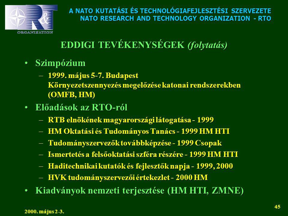 A NATO KUTATÁSI ÉS TECHNOLÓGIAFEJLESZTÉSI SZERVEZETE NATO RESEARCH AND TECHNOLOGY ORGANIZATION - RTO 2000. május 2-3. 45 EDDIGI TEVÉKENYSÉGEK (folytat