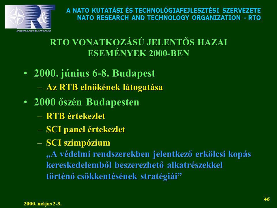 A NATO KUTATÁSI ÉS TECHNOLÓGIAFEJLESZTÉSI SZERVEZETE NATO RESEARCH AND TECHNOLOGY ORGANIZATION - RTO 2000. május 2-3. 46 RTO VONATKOZÁSÚ JELENTŐS HAZA