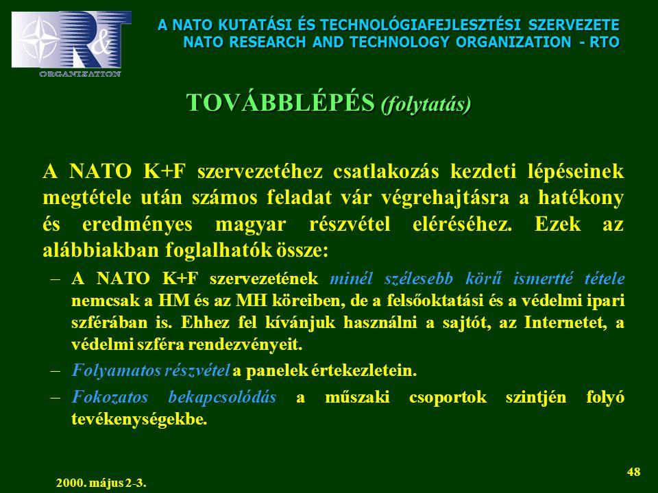 A NATO KUTATÁSI ÉS TECHNOLÓGIAFEJLESZTÉSI SZERVEZETE NATO RESEARCH AND TECHNOLOGY ORGANIZATION - RTO 2000. május 2-3. 48 TOVÁBBLÉPÉS (folytatás) A NAT