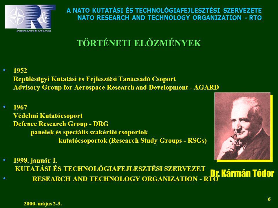 A NATO KUTATÁSI ÉS TECHNOLÓGIAFEJLESZTÉSI SZERVEZETE NATO RESEARCH AND TECHNOLOGY ORGANIZATION - RTO 2000. május 2-3. 6 TÖRTÉNETI ELŐZMÉNYEK • 1952 Re