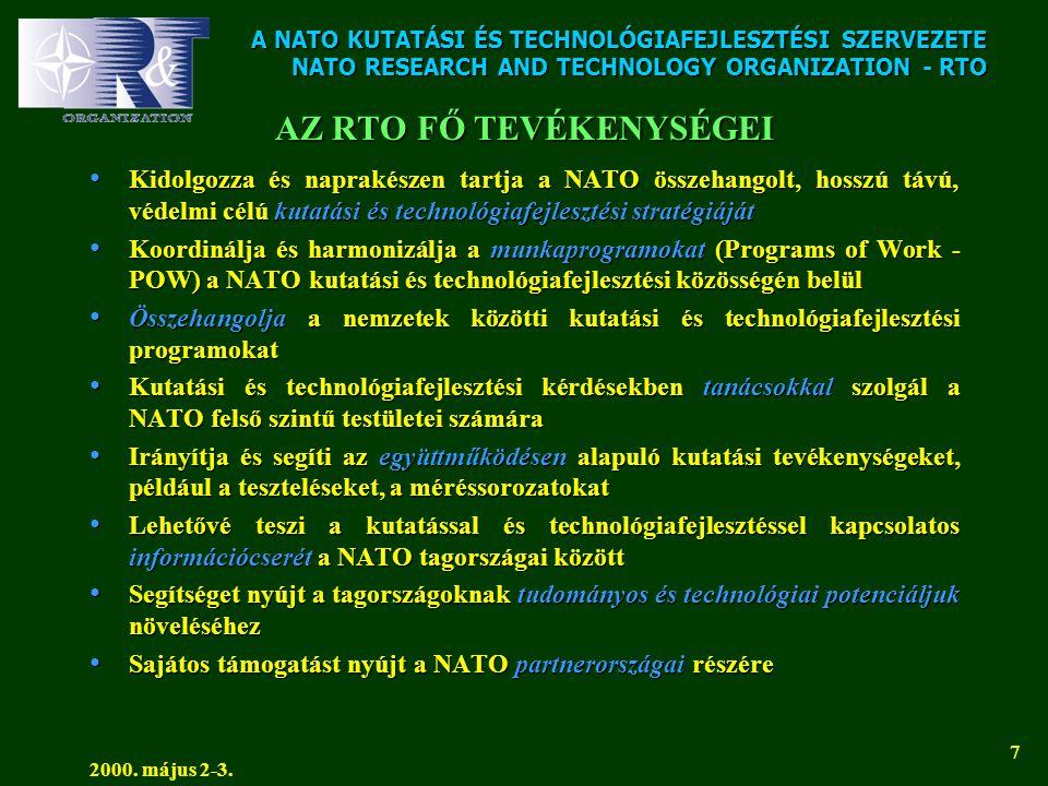 A NATO KUTATÁSI ÉS TECHNOLÓGIAFEJLESZTÉSI SZERVEZETE NATO RESEARCH AND TECHNOLOGY ORGANIZATION - RTO 2000. május 2-3. 7 AZ RTO FŐ TEVÉKENYSÉGEI • Kido