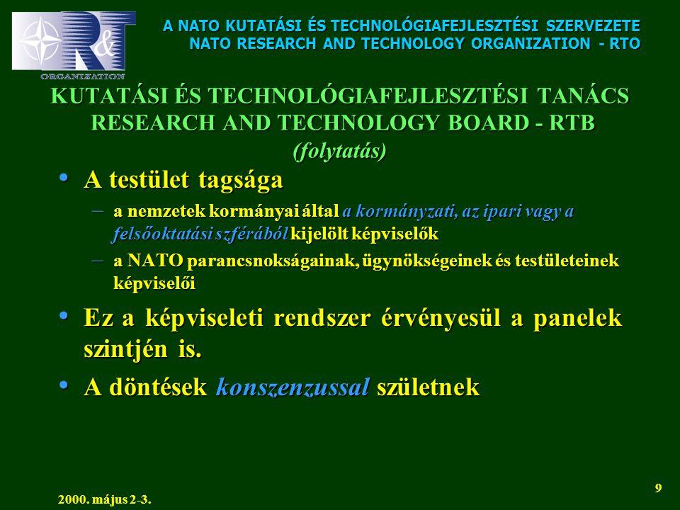 A NATO KUTATÁSI ÉS TECHNOLÓGIAFEJLESZTÉSI SZERVEZETE NATO RESEARCH AND TECHNOLOGY ORGANIZATION - RTO 2000. május 2-3. 9 KUTATÁSI ÉS TECHNOLÓGIAFEJLESZ