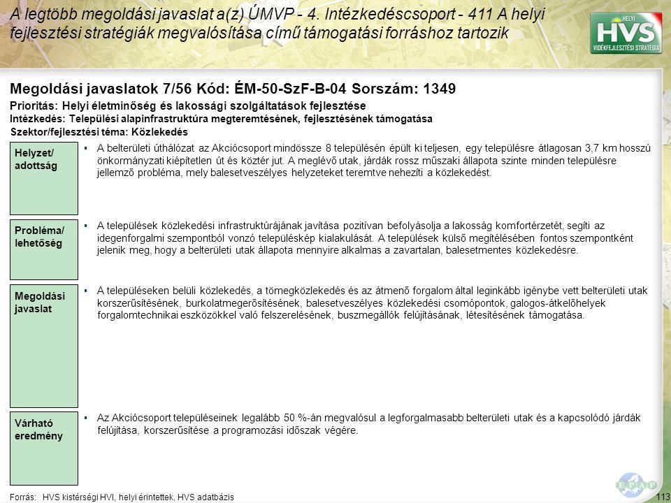 113 Forrás:HVS kistérségi HVI, helyi érintettek, HVS adatbázis Megoldási javaslatok 7/56 Kód: ÉM-50-SzF-B-04 Sorszám: 1349 A legtöbb megoldási javaslat a(z) ÚMVP - 4.