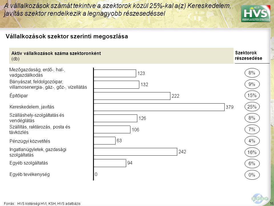 16 Forrás:HVS kistérségi HVI, KSH, HVS adatbázis Vállalkozások szektor szerinti megoszlása A vállalkozások számát tekintve a szektorok közül 25%-kal a(z) Kereskedelem, javítás szektor rendelkezik a legnagyobb részesedéssel Aktív vállalkozások száma szektoronként (db) Mezőgazdaság, erdő-, hal-, vadgazdálkodás Bányászat, feldolgozóipar, villamosenergia-, gáz-, gőz-, vízellátás Építőipar Kereskedelem, javítás Szálláshely-szolgáltatás és vendéglátás Szállítás, raktározás, posta és távközlés Pénzügyi közvetítés Ingatlanügyletek, gazdasági szolgáltatás Egyéb szolgáltatás Egyéb tevékenység Szektorok részesedése 8% 9% 25% 8% 7% 16% 6% 0% 15% 4%