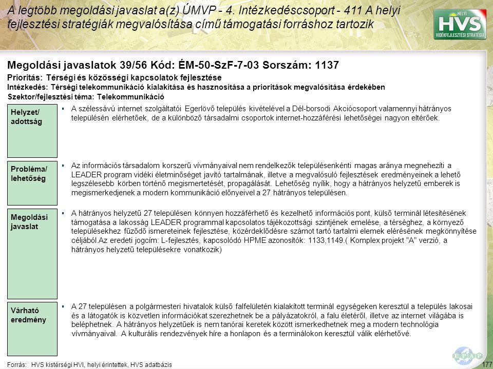 177 Forrás:HVS kistérségi HVI, helyi érintettek, HVS adatbázis Megoldási javaslatok 39/56 Kód: ÉM-50-SzF-7-03 Sorszám: 1137 A legtöbb megoldási javasl