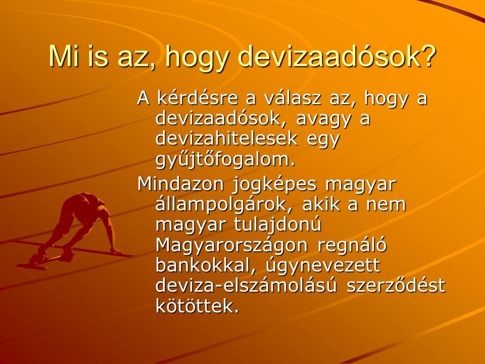 Mi is az, hogy devizaadósok? A kérdésre a válasz az, hogy a devizaadósok, avagy a devizahitelesek egy gyűjtőfogalom. Mindazon jogképes magyar állampol