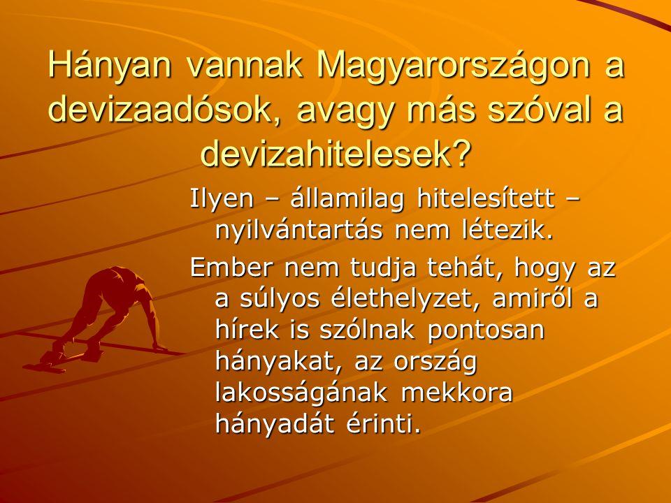 Hányan vannak Magyarországon a devizaadósok, avagy más szóval a devizahitelesek? Ilyen – államilag hitelesített – nyilvántartás nem létezik. Ember nem