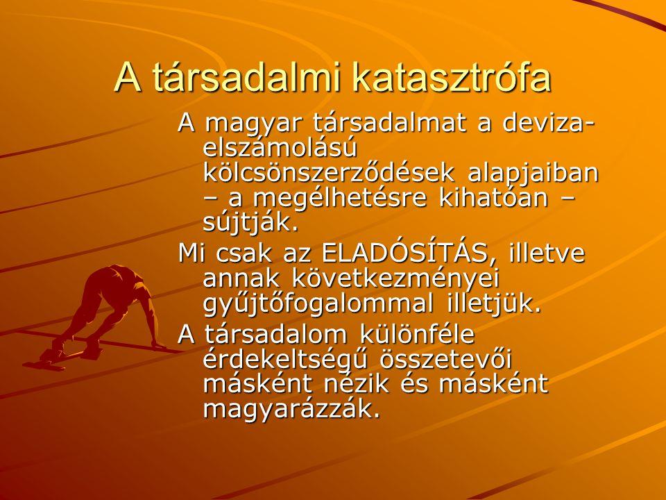 A társadalmi katasztrófa A magyar társadalmat a deviza- elszámolású kölcsönszerződések alapjaiban – a megélhetésre kihatóan – sújtják. Mi csak az ELAD