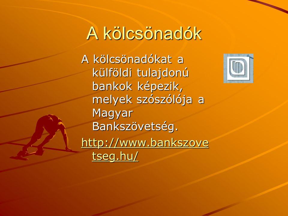 A kölcsönadók A kölcsönadókat a külföldi tulajdonú bankok képezik, melyek szószólója a Magyar Bankszövetség. http://www.bankszove tseg.hu/ http://www.