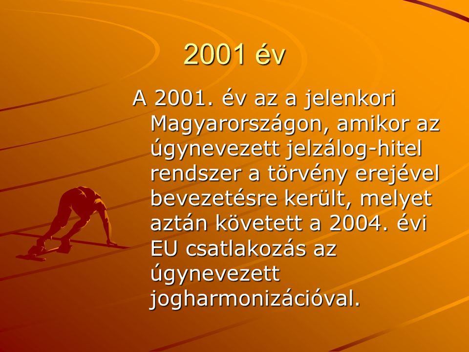 2001 év A 2001. év az a jelenkori Magyarországon, amikor az úgynevezett jelzálog-hitel rendszer a törvény erejével bevezetésre került, melyet aztán kö