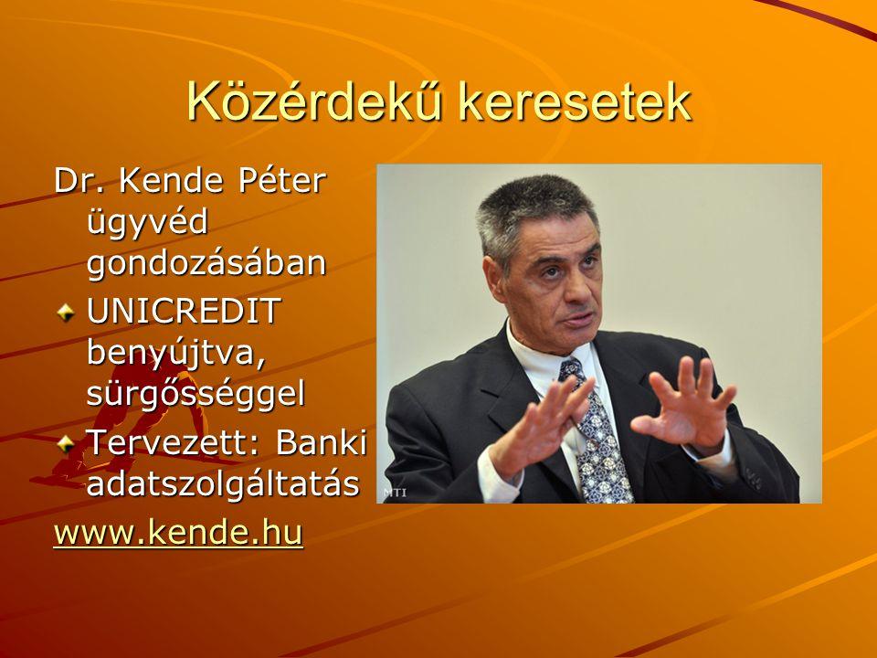 Közérdekű keresetek Dr. Kende Péter ügyvéd gondozásában UNICREDIT benyújtva, sürgősséggel Tervezett: Banki adatszolgáltatás www.kende.hu