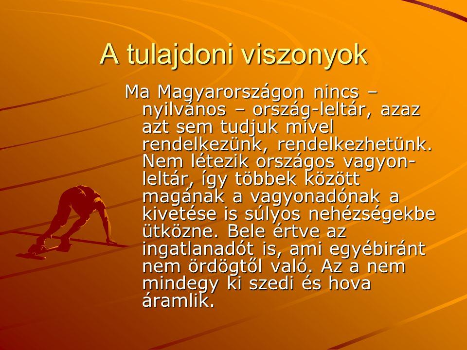A tulajdoni viszonyok Ma Magyarországon nincs – nyilvános – ország-leltár, azaz azt sem tudjuk mivel rendelkezünk, rendelkezhetünk. Nem létezik ország
