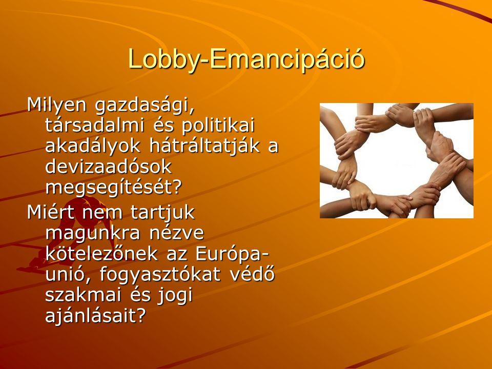 Lobby-Emancipáció Milyen gazdasági, társadalmi és politikai akadályok hátráltatják a devizaadósok megsegítését? Miért nem tartjuk magunkra nézve kötel
