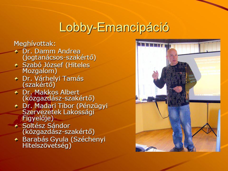 Lobby-Emancipáció Meghívottak: Dr. Damm Andrea (jogtanácsos-szakértő) Szabó József (Hiteles Mozgalom) Dr. Várhelyi Tamás (szakértő) Dr. Makkos Albert