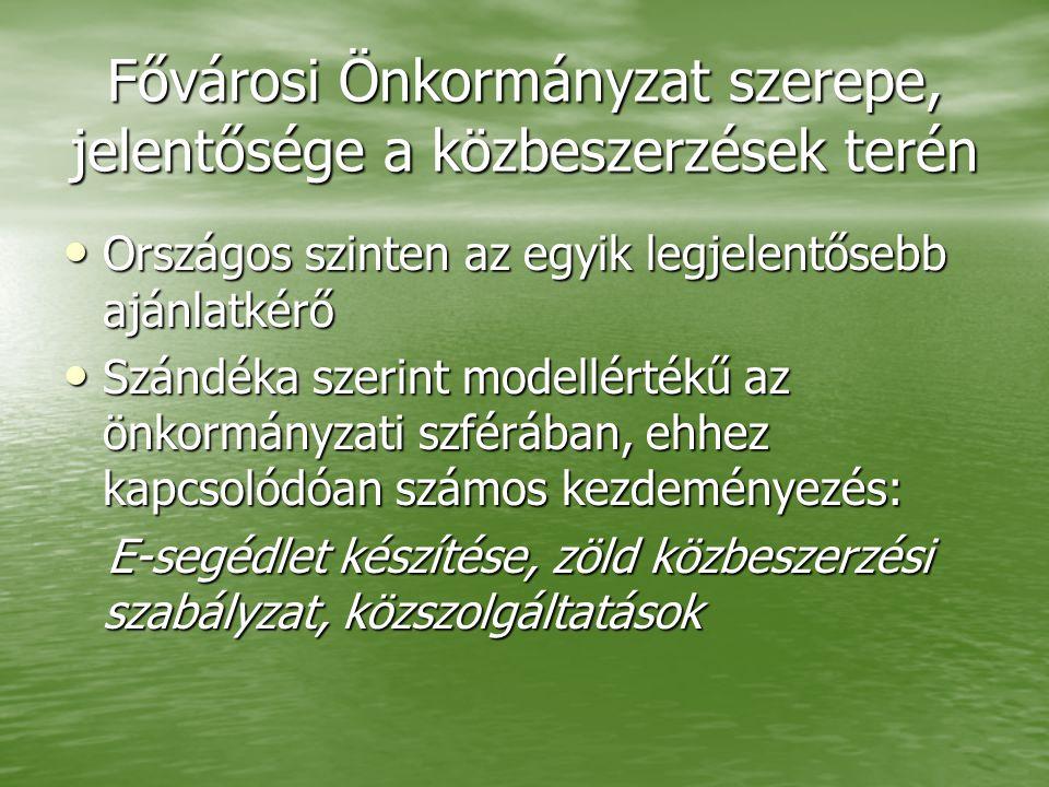 Fővárosi Önkormányzat szerepe, jelentősége a közbeszerzések terén • Országos szinten az egyik legjelentősebb ajánlatkérő • Szándéka szerint modellérté