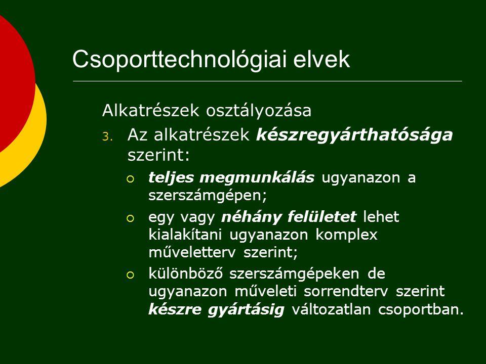 Alkatrészek osztályozása 2. Megmunkálási módok és szerszámgépfajták szerint:  Igényelt géptípus szerinti osztályok pl.: esztergagép, marógép, fúrógép