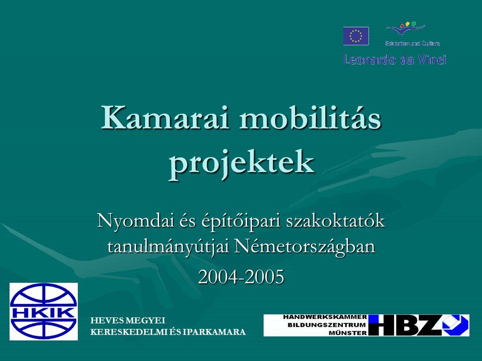 Kamarai mobilitás projektek Nyomdai és építőipari szakoktatók tanulmányútjai Németországban 2004-2005 HEVES MEGYEI KERESKEDELMI ÉS IPARKAMARA
