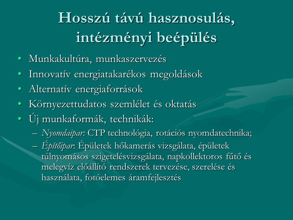 Konkrét további eredmények… •Nyomdász mobilitás Németországból Magyarországra (szakoktatók) •2006-ban 8 hónapra nyomdásztanuló érkezik egy egri nyomdához gyakorlatra •Konkrét üzleti kapcsolatok cégek között •HKIK – HWK Münster aláírt szándéknyilatkozata energiatakarékos és környezetbarát építőipari eljárásokat bemutató Demonstrációs Centrum létrehozásáról Egerben