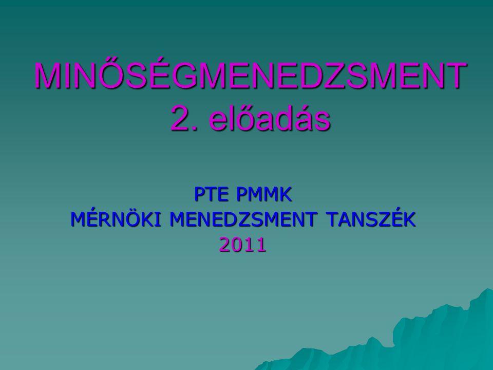 MINŐSÉGMENEDZSMENT 2. előadás PTE PMMK MÉRNÖKI MENEDZSMENT TANSZÉK 2011