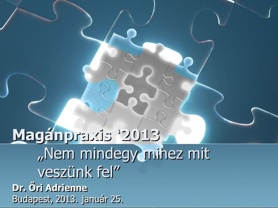 """Magánpraxis '2013 """"Nem mindegy mihez mit veszünk fel"""" Dr. Őri Adrienne Budapest, 2013. január 25. Dr. Őri Adrienne Budapest, 2013. január 25."""
