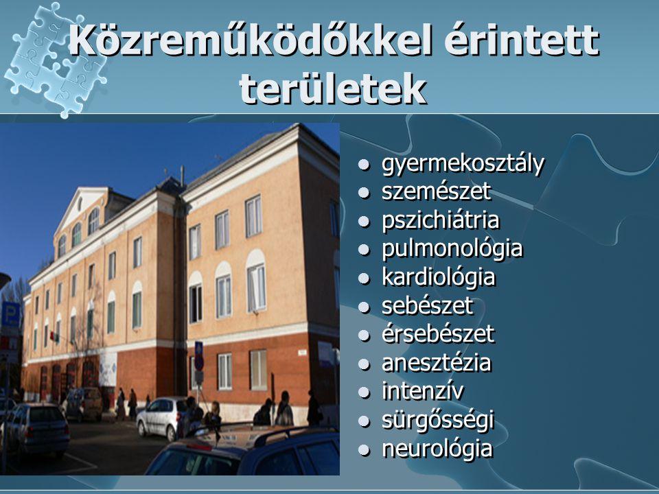 Közreműködőkkel érintett területek  gyermekosztály  szemészet  pszichiátria  pulmonológia  kardiológia  sebészet  érsebészet  anesztézia  int