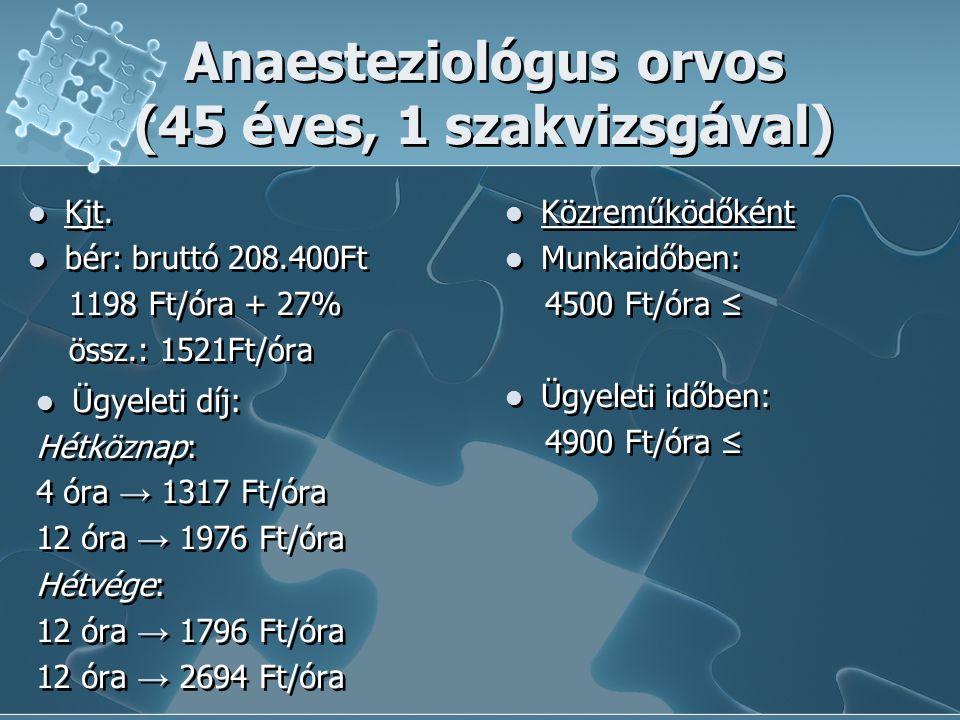 Anaesteziológus orvos (45 éves, 1 szakvizsgával)  Kjt.  bér: bruttó 208.400Ft 1198 Ft/óra + 27% össz.: 1521Ft/óra  Kjt.  bér: bruttó 208.400Ft 119