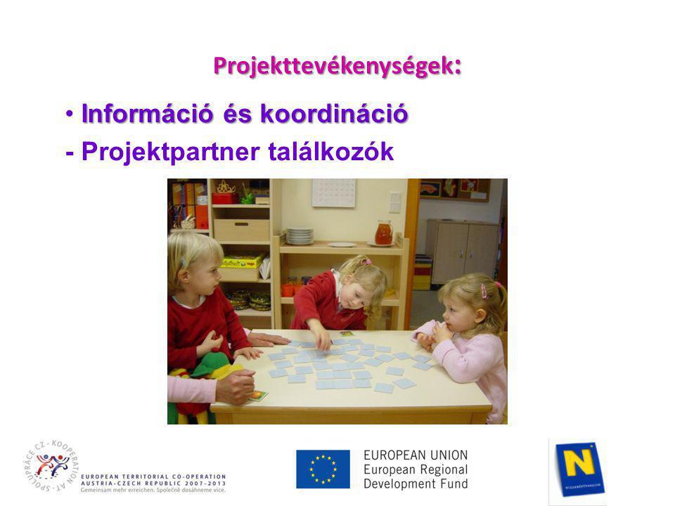 Projekttevékenységek : Információ és koordináció • Információ és koordináció - Projektpartner találkozók