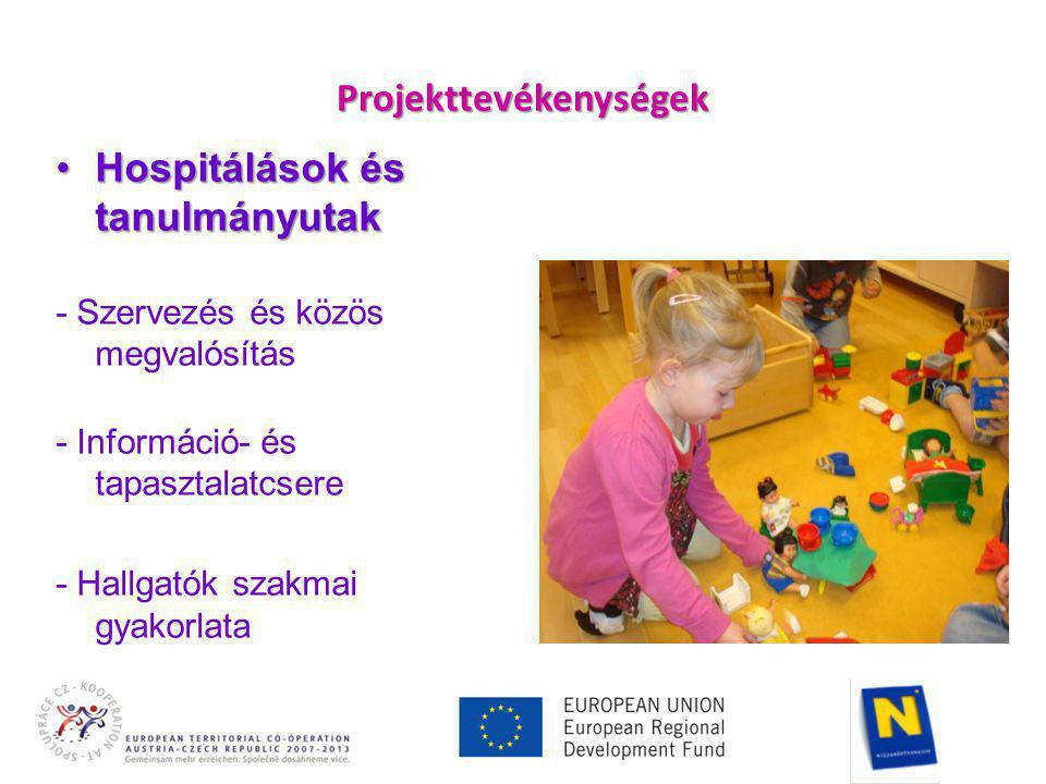 Projekttevékenységek •Hospitálások és tanulmányutak - Szervezés és közös megvalósítás - Információ- és tapasztalatcsere - Hallgatók szakmai gyakorlata