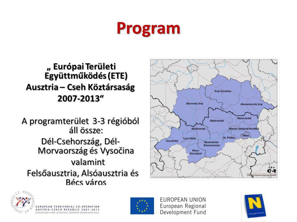 """Program """" Európai Területi Együttműködés (ETE) Ausztria – Cseh Köztársaság 2007-2013 A programterület 3-3 régióból áll össze: Dél-Csehország, Dél- Morvaország és Vysočina valamint valamint Felsőausztria, Alsóausztria és Bécs város Felsőausztria, Alsóausztria és Bécs város"""